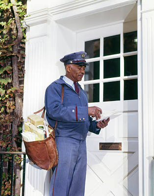 Mailman Photograph - 1960s Uniformed African American by Vintage Images