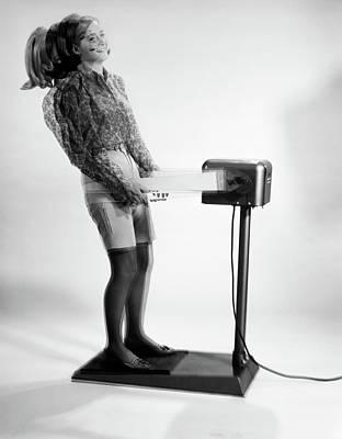 1960s Woman Massaged By Vibrating Art Print