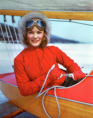 Cockpit Photograph - 1960s Woman Sitting In Cockpit Of Ice by Vintage Images