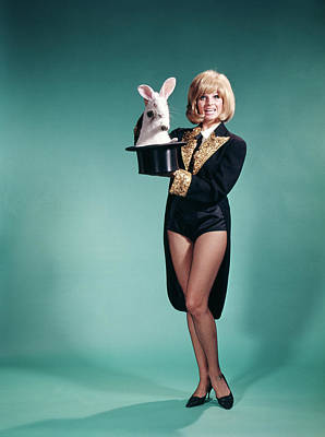 Magician Photograph - 1960s Young Blond Woman In Stage by Vintage Images