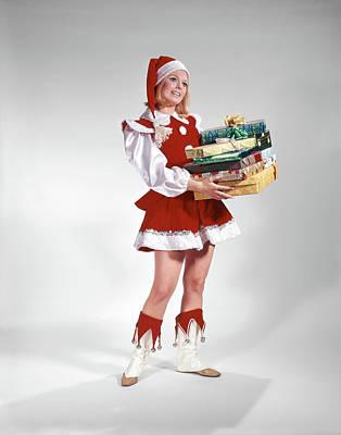 1960s Young Woman In Christmas Santa Art Print