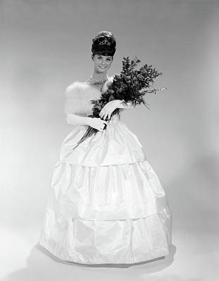 Ball Gown Photograph - 1960s Young Woman In Evening Dress by Vintage Images