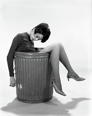 Go Away Photograph - 1960s Young Woman In Trash by Vintage Images