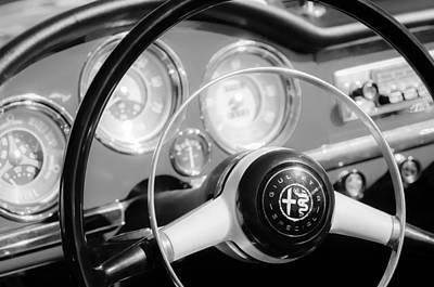 Photograph - 1961 Alfa Romeo Giulietta Spider Steering Wheel Emblem -1239bw by Jill Reger