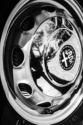 Photograph - 1961 Alfa Romeo Giulietta Sprint Speciale Wheel Emblem -0051bw by Jill Reger
