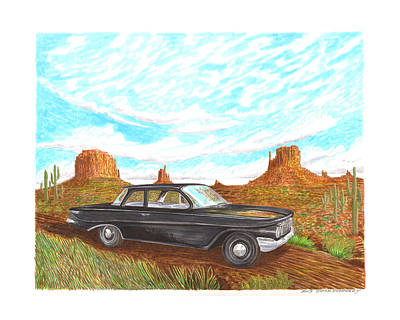 Chevrolet Biscayne Painting - 1961 Chevrolet Biscayne 409 In Monument Valley by Jack Pumphrey