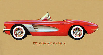 Digital Art - 1961 Chevrolet Corvette by Walter Colvin
