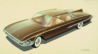Vintage Car Drawing - 1961 Desoto  Vintage Styling Design Concept Rendering Sketch by John Samsen