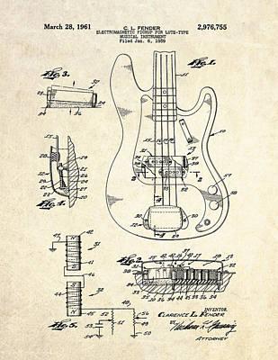 Fender Drawing - 1961 Fender Bass Pickup Patent Art by Gary Bodnar