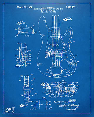 Digital Art - 1961 Fender Guitar Patent Artwork - Blueprint by Nikki Marie Smith