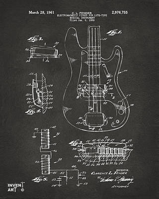 Inventor Drawing - 1961 Fender Guitar Patent Artwork - Gray by Nikki Marie Smith