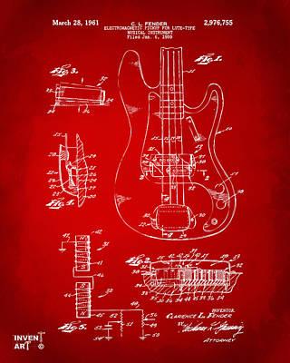 1961 Fender Guitar Patent Artwork - Red Art Print by Nikki Marie Smith