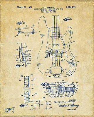 Fender Digital Art - 1961 Fender Guitar Patent Artwork - Vintage by Nikki Marie Smith