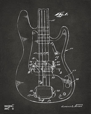 Cave Digital Art - 1961 Fender Guitar Patent Minimal - Gray by Nikki Marie Smith