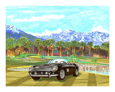 Championship Drawing - 1961 Ferrari G T 250 Indian Wells  Golf by Jack Pumphrey
