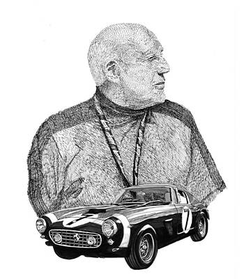 Drawing -  Sir Stirling Moss 1961 Ferrari G T 250 by Jack Pumphrey
