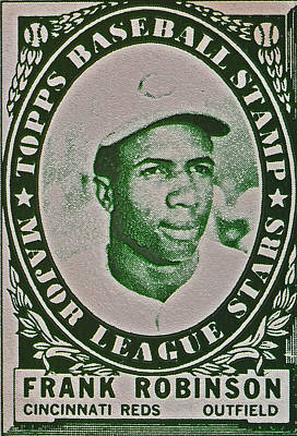 Photograph - 1961 Frank Robinson Topps Baseball Stamp by Bill Owen