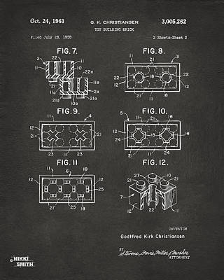 Playing Digital Art - 1961 Lego Brick Patent Art - Gray by Nikki Marie Smith