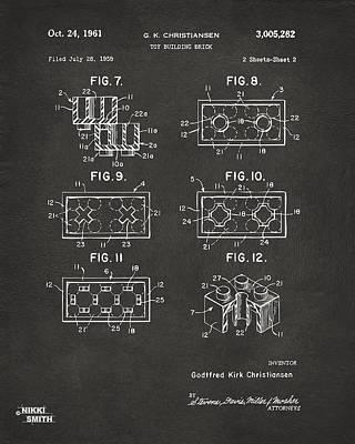 1961 Lego Brick Patent Art - Gray Print by Nikki Marie Smith