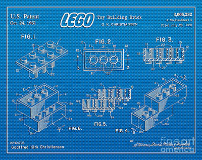 1961 Lego Building Blocks Patent Art 2 Art Print