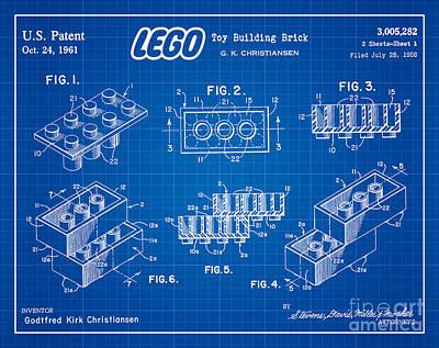 1961 Lego Building Blocks Patent Art 3 Art Print