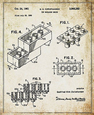 1961 Lego Patent Print by Bill Cannon