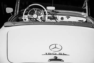 Photograph - 1961 Mercedes-benz 190 Sl Emblem - Steering Wheel -1996bw by Jill Reger