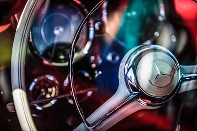 Photograph - 1961 Mercedes-benz 190 Sl Roadster Steering Wheel -0855c by Jill Reger