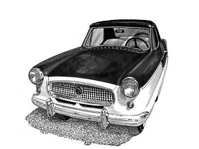 Larks Painting - 1961 Nash Metro In Black White by Jack Pumphrey
