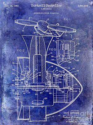 1961 Propeller Patent Blueprint Art Print by Jon Neidert