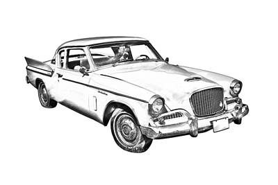 Photograph - 1961 Studebaker Hawk Coupe Illustration by Keith Webber Jr