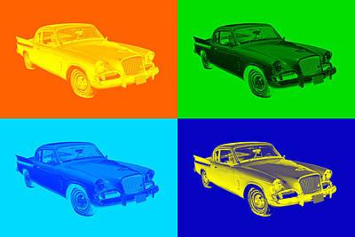Two Tailed Digital Art - 1961 Studebaker Hawk Coupe Pop Art by Keith Webber Jr
