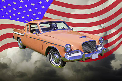 Photograph - 1961 Studebaker Hawk With United States Flag by Keith Webber Jr