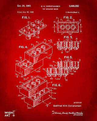 Playing Digital Art - 1961 Toy Building Brick Patent Art Red by Nikki Marie Smith