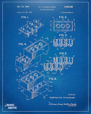 1961 Toy Building Brick Patent Artwork - Blueprint Art Print by Nikki Marie Smith