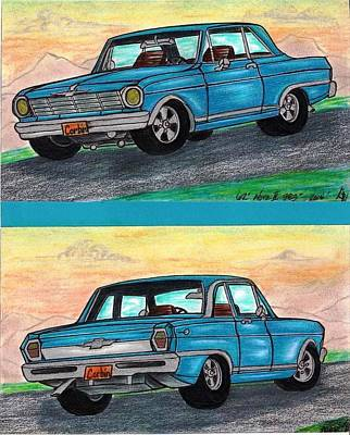 Special Occasion Drawing - 1962' Chevy Nova II by Gene Pippert