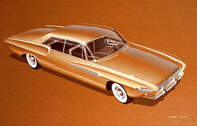 Vintage Car Drawing - 1962 Desoto  Vintage Styling Design Concept Rendering Sketch by John Samsen