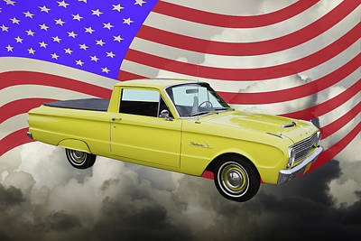 Photograph - 1962 Ford Falcon Pickup Truck And American Flag by Keith Webber Jr