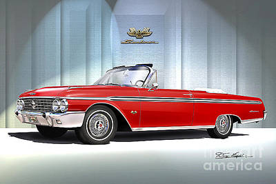 Cars Drawing - 1962 Ford Sunliner 390 Rangoon Red by Danny Whitfield