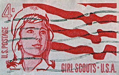 1962 Girl Scouts Stamp Art Print by Bill Owen