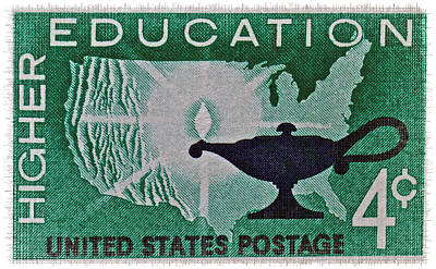 Photograph - 1962 Higher Education Stamp by Bill Owen