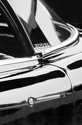 Mercedes Benz 300 Sl Classic Car Photograph - 1962 Mercedes-benz 300sl Roadster Emblem -0663bw by Jill Reger