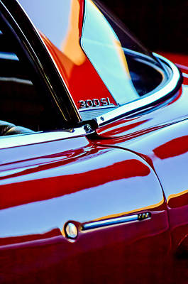 Mercedes Benz 300 Sl Classic Car Photograph - 1962 Mercedes-benz 300sl Roadster Emblem -0663c by Jill Reger