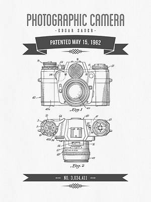 Camera Digital Art - 1962 Photographic Camera Patent Drawing - Retro Gray by Aged Pixel