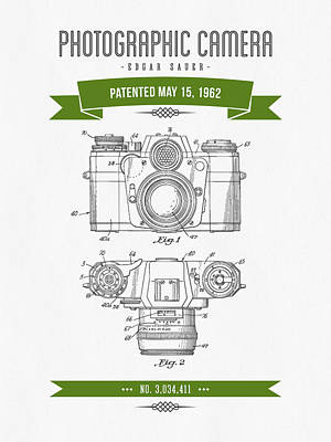 Camera Digital Art - 1962 Photographic Camera Patent Drawing - Retro Green by Aged Pixel