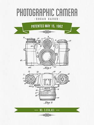 1962 Photographic Camera Patent Drawing - Retro Green Art Print