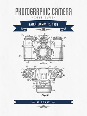 Camera Digital Art - 1962 Photographic Camera Patent Drawing - Retro Navy Blue by Aged Pixel