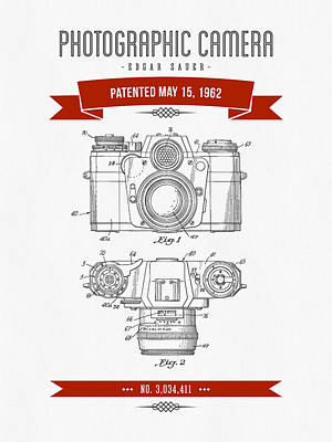 Camera Digital Art - 1962 Photographic Camera Patent Drawing - Retro Red by Aged Pixel