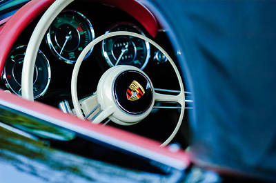 Photograph - 1962 Porsche 356 1600 Bt6 Roadster Steering Wheel -0696c by Jill Reger