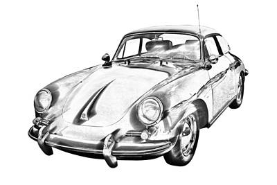 Photograph - 1962  Porsche 356 E Illustration by Keith Webber Jr